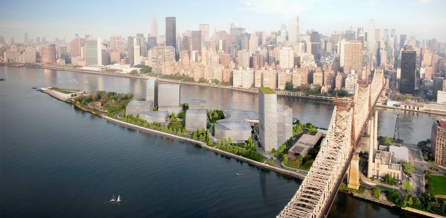 New York City is offering 12 acres of land and up to $100 million in improvements for a tech-focused graduate school on Roosevelt Island. Cornell University and Technion-Israel Institute of Technology will run the school, which will include company offices and classrooms aimed at linking research and the real world. (Kilo Copy via Associated Press)