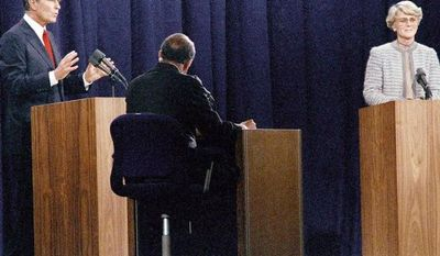"During the 1984 vice presidential debate, Democrat Geraldine Ferraro bristled at George H.W. Bush's ""patronizing attitude."" (Associated Press)"