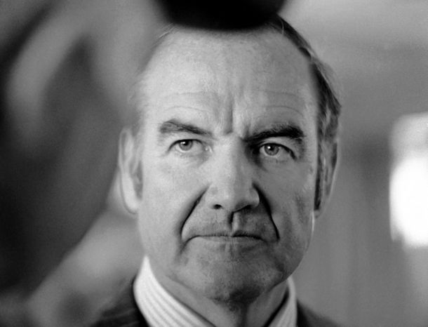 In this March 25, 1974 file photo, Sen. George McGovern of South Dakota listens to constituents as he arrives at Pierre, S.D. airport. A family spokesman says, McGovern, the Democrat who lost to President Richard Nixon in 1972 in a historic landslide, has died at the age of 90. According to the spokesman,  McGovern died Sunday, Oct. 21, 2012 at a hospice in Sioux Falls, surrounded by family and friends.(AP Photo/Jim Mone, File)