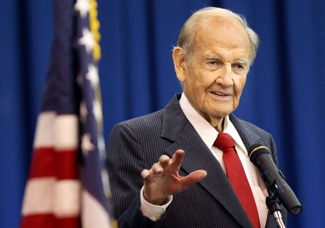 In this Jan. 20, 2012 photo, George McGovern speaks during First Coast Technical Collegeís winter commencement ceremony on  in St. Augustine, Fla.  A family spokesman says, McGovern, the Democrat who lost to President Richard Nixon in 1972 in a historic landslide, has died at the age of 90. According to a spokesman,  McGovern died Sunday, Oct. 21, 2012 at a hospice in Sioux Falls, surrounded by family and friends. (AP Photo/The St. Augustine Record, Daron Dean)