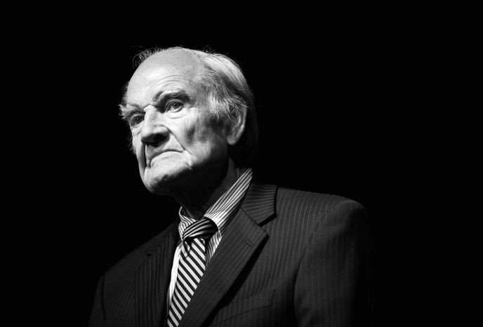 Former Senator George McGovern takes questions after speaking to students at St. Augustine High School in Fla. on February 10, 2010. Former Sen. George McGovern, who lost 1972 presidential bid to Nixon, has died at 90, on Sunday, Oct. 21, 2012.(AP Photo/The St. Augustine Record, Daron Dean)