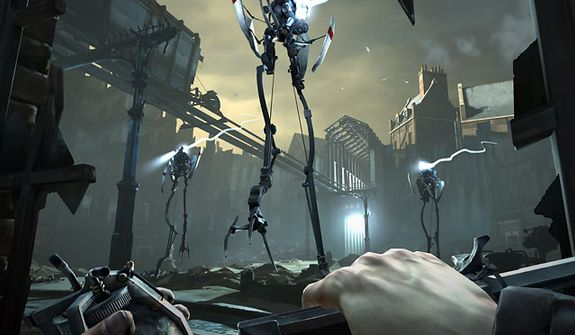 Tallboys hanging around the Flooded District attack in the video game Dishonored.