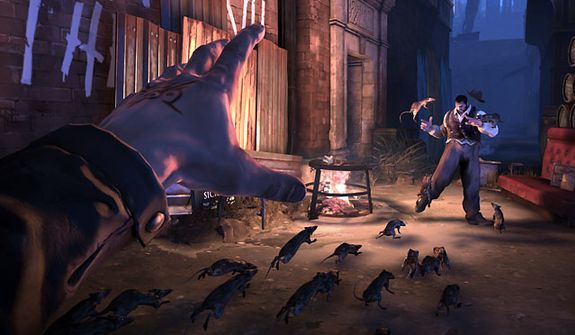 Use a rat swarm to attack enemies in the video game Dishonored.