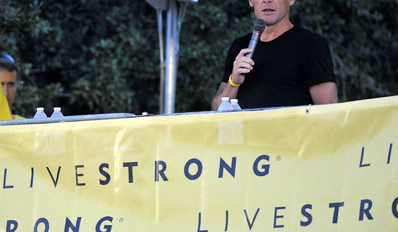 Cyclist Lance Armstrong speaks at the Livestrong Challenge Austin bike ride on Sunday, Oct. 21, 2012, in Austin, Texas. Armstrong greeted about 4,300 cyclists at his Livestrong charity's fundraiser, then retreated into privacy as cycling officials got set to announce if they will appeal his lifetime ban and loss of seven Tour de France titles ordered by the U.S. Anti-Doping Agency. (AP Photo/Michael Thomas)