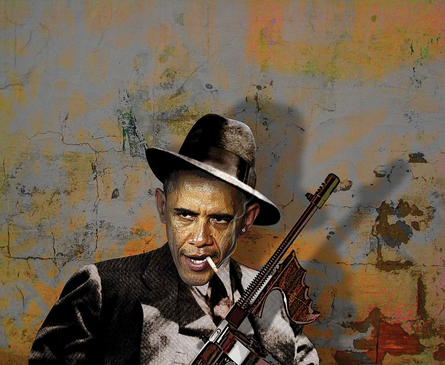Illustration Obama the Intimidator by Greg Groesch for The Washington Times