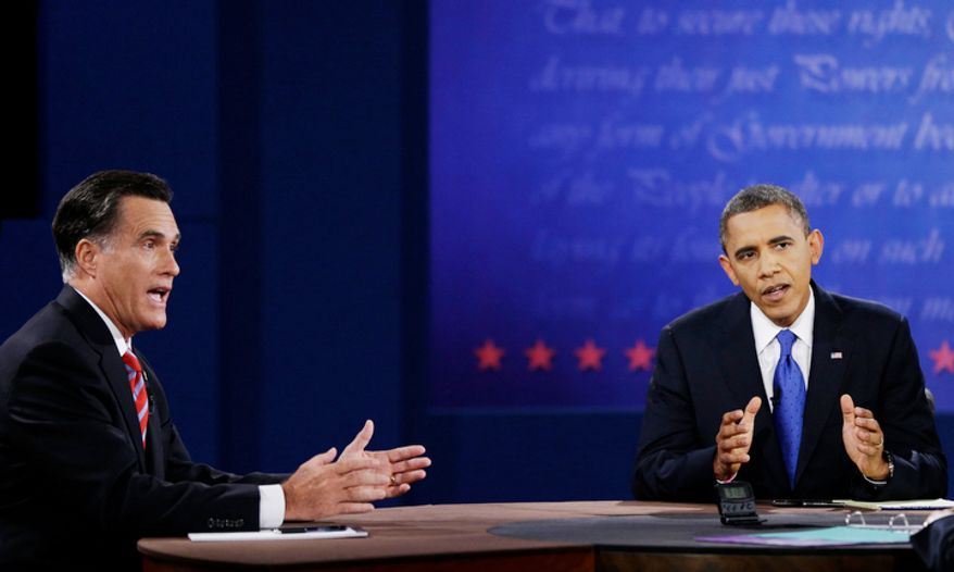 Republican presidential nominee Mitt Romney, left, and President Barack Obama make their points to moderator Bob Schieffer during the third presidential debate at Lynn University, Monday, Oct. 22, 2012, in Boca Raton, Fla. (AP Photo/David Goldman)