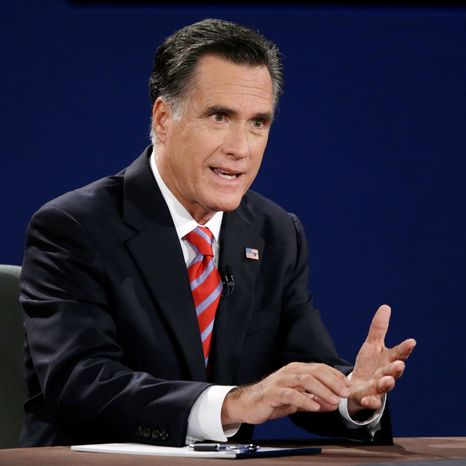 Republican presidential nominee Mitt Romney answers a question during the third presidential debate at Lynn University. (AP Photo/Charlie Neibergall)