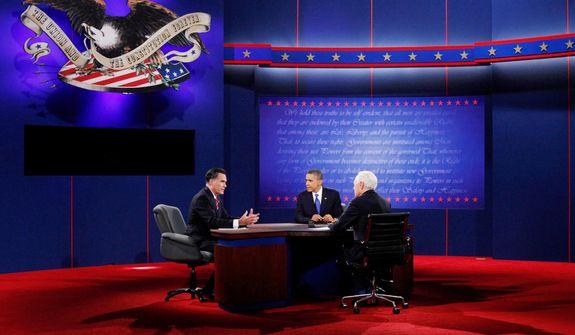 President Barack Obama and moderator Bob Schieffer, right, listen to Republican presidential nominee Mitt Romney, left, during the third presidential debate at Lynn University, Monday, Oct. 22, 2012, in Boca Raton, Fla. (AP Photo/David Goldman)