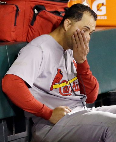 St. Louis Cardinals RF Carlos Beltran reacts in the dugout during the ninth inning of Game 6 of the National League Championship Series against the San Francisco Giants on Oct. 21, 2012, in San Francisco. The Giants won 6-1 to force a decisive Game 7. (Associated Press)