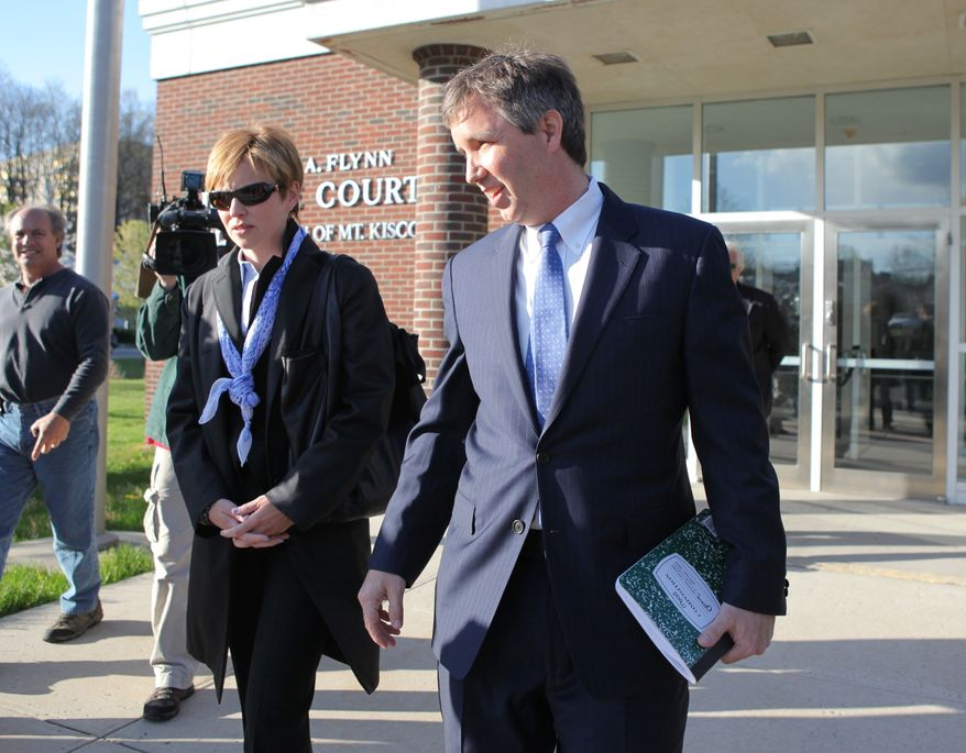 ** FILE ** Douglas Kennedy (right), a son of Ethel Kennedy and the late Sen. Robert F. Kennedy, arrives early to a locked door at village court in Mount Kisco, N.Y. (AP Photo/The Journal News, Xavier Mascarenas)
