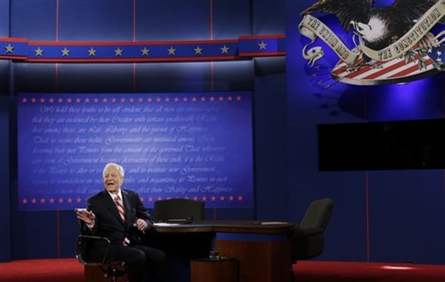 Moderator Bob Schieffer addresses the audience before the third presidential debate between President Barack Obama and Republican presidential nominee Mitt Romney at Lynn University, Monday, Oct. 22, 2012, in Boca Raton, Fla. (AP Photo/Eric Gay)