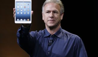 ** FILE ** Phil Schiller, Apple's senior vice president of worldwide product marketing, introduces the iPad Mini in San Jose, Calif., on Tuesday, Oct. 23, 2012. (AP Photo/Marcio Jose Sanchez)
