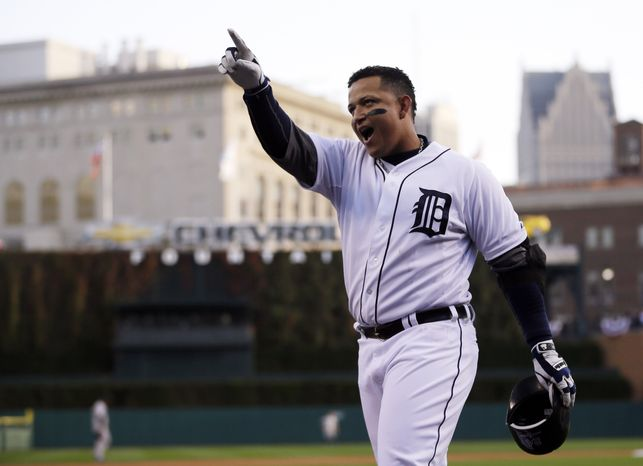 Detroit Tigers' Miguel Cabrera celebrates after hitting a two run home run in the fourth inning during Game 4 of the American League championship series against the New York Yankees Thursday, Oct. 18, 2012, in Detroit. (AP Photo/Matt Slocum)