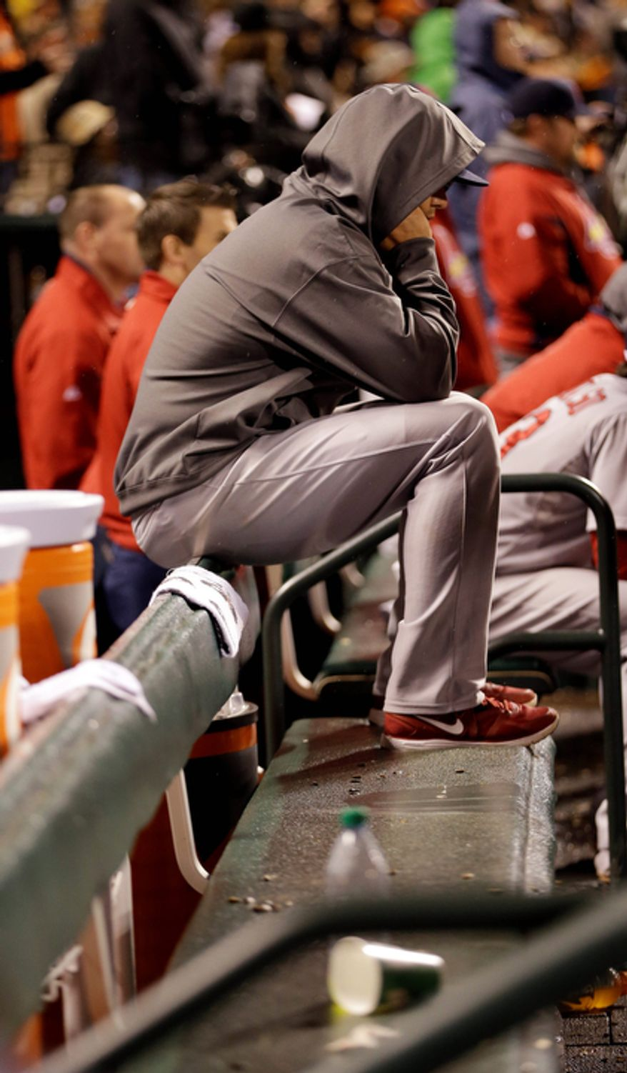 St. Louis Cardinals starting pitcher Kyle Lohse sits on the bench during the eighth inning of Game 7 of the National League Championship Series between the Cardinals and the San Francisco Giants on Oct. 22, 2012, in San Francisco. (Associated Press)