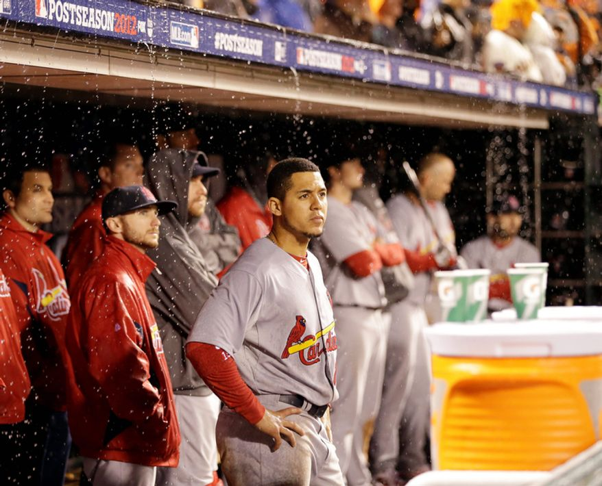St. Louis Cardinals CF Jon Jay reacts during the ninth inning of Game 7 of the National League Championship Series between the Cardinals and the San Francisco Giants on Oct. 22, 2012, in San Francisco. (Associated Press)