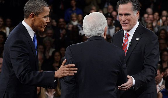 President Barack Obama and Republican presidential nominee Mitt Romney greet moderator Bob Schieffer at the start of the third presidential debate at Lynn University, Monday, Oct. 22, 2012, in Boca Raton, Fla. (AP Photo/Pool-Michael Reynolds)