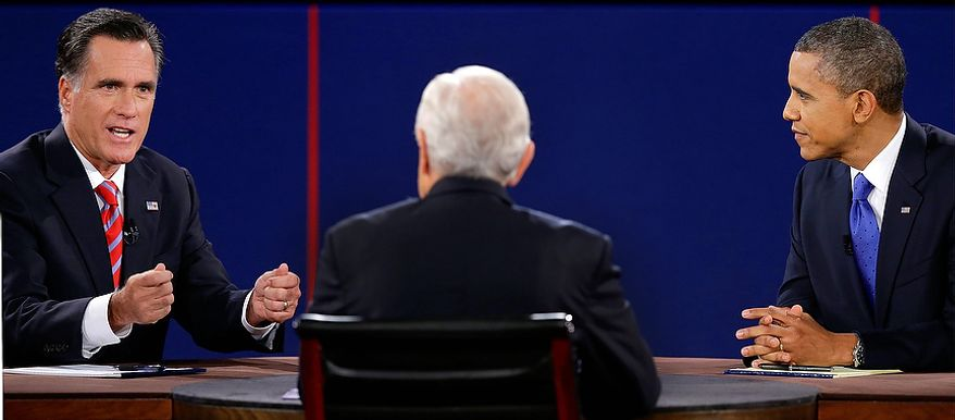Republican presidential nominee Mitt Romney answers a question and President Barack Obama listens during the third presidential debate at Lynn University, Monday, Oct. 22, 2012, in Boca Raton, Fla. (AP Photo/Charlie Neibergall)