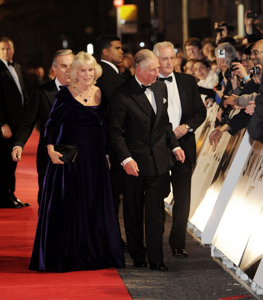 "Camilla Duchess of Cornwall and Prince Charles arrive at the world premiere of ""Skyfall"" at the Royal Albert Hall on Tuesday, Oct. 23, 2012 in London.  (Photo by Stewart Wilson/Invision/AP)"