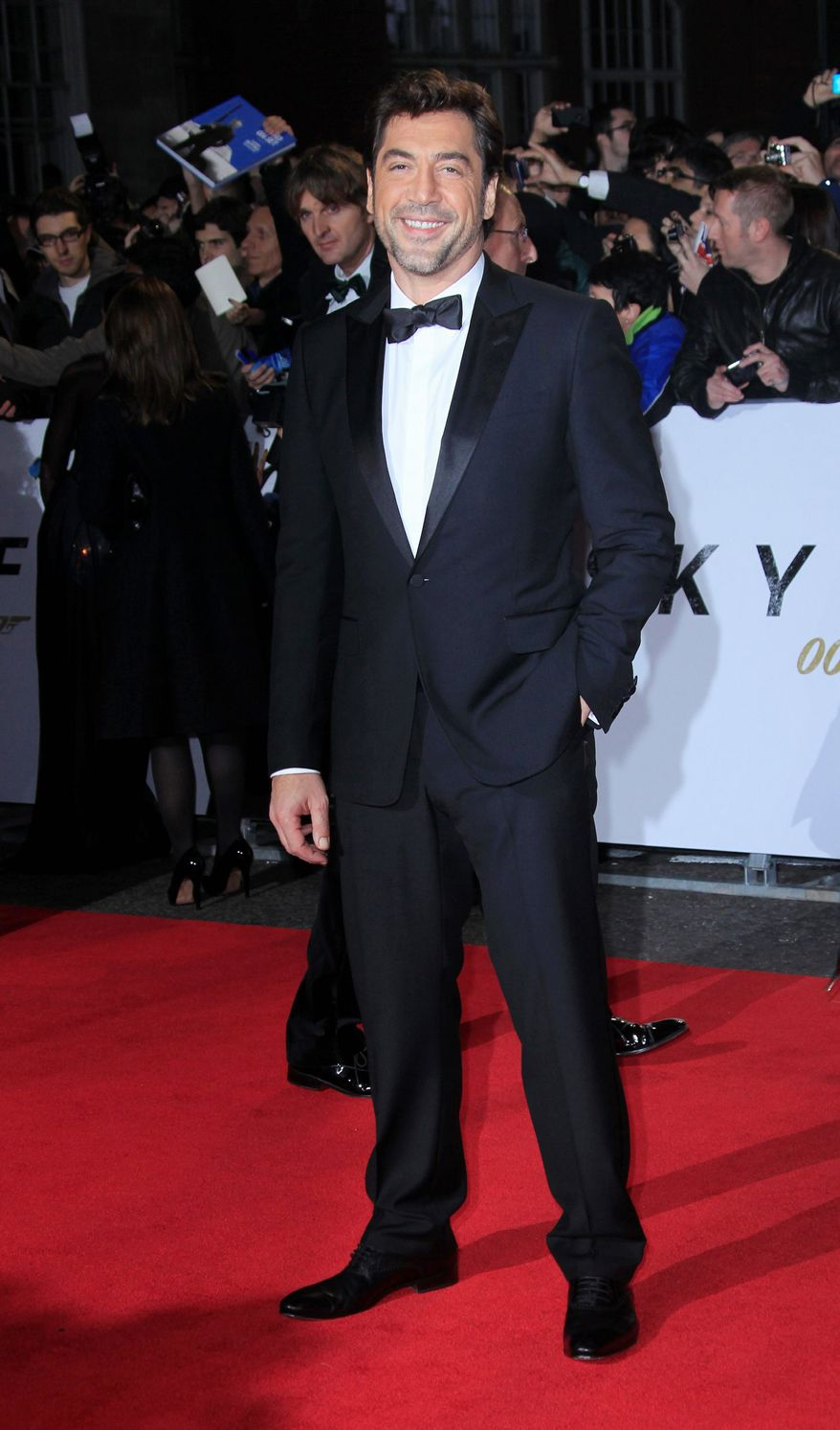 "Javier Bardem arrives at the world premiere of ""Skyfall"" at the Royal Albert Hall on Tuesday, Oct. 23, 2012 in London. (Photo by Joel Ryan/Invision/AP)"