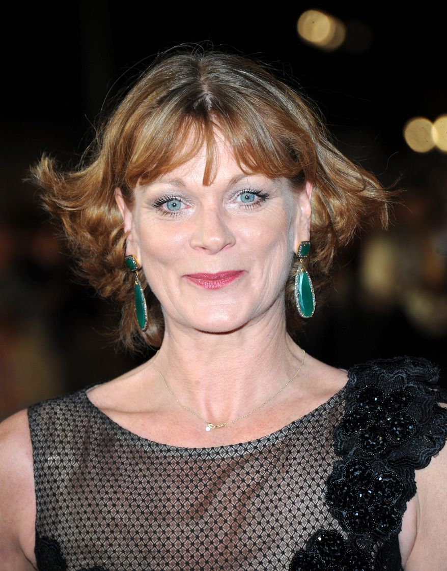 "Samantha Bond arrives at the world premiere of ""Skyfall"" on Tuesday, Oct. 23, 2012 in London.  (Photo by Stewart Wilson/Invision/AP)"