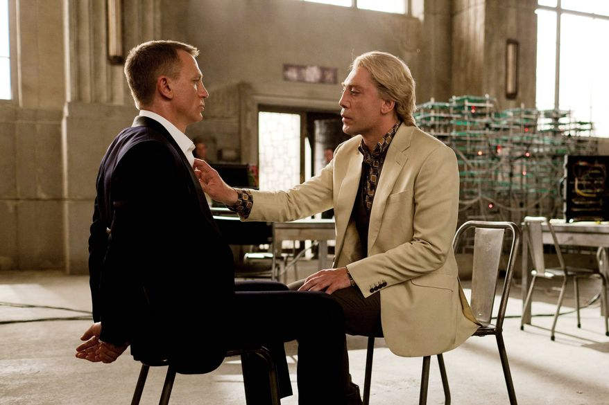 "This film image released by Sony Pictures shows Daniel Craig, left, and Javier Bardem sin a scene from the film ""Skyfall."" Bardem portrays, Raoul Silva, one of the finest arch-enemies in the 50-year history of Bond films. (AP Photo/Sony Pictures, Francois Duhamel)"