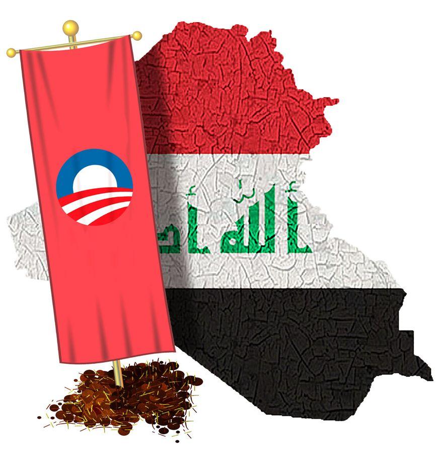 Illustration Obama's Iraq by Alexander Hunter for The Washington Times