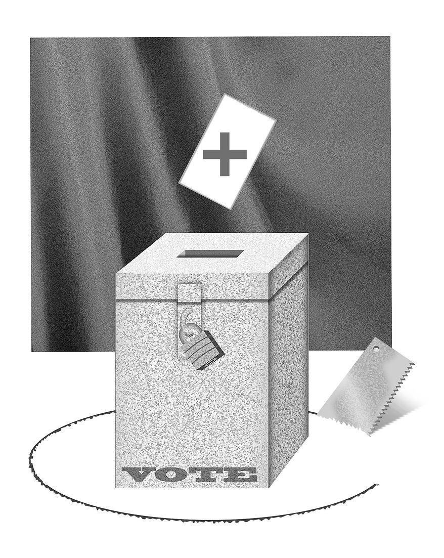 Illustration Ballot Box by Alexander Hunter for The Washington Times