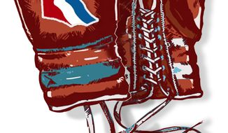 Illustration Romney's Boxing Gloves by John Camejo for The Washington Times