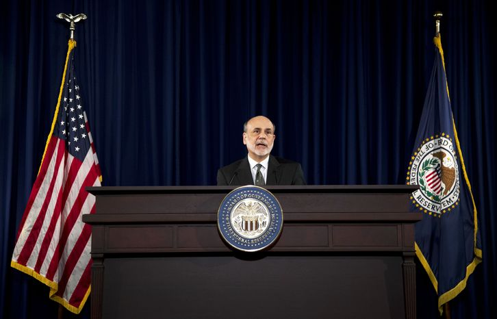 **FILE** Federal Reserve Chairman Ben Bernanke speaks Sept. 13, 2012, during a news conference in Washington. (Associated Press)