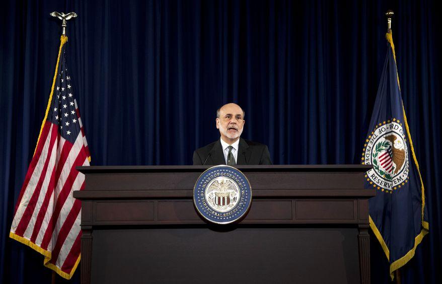 **FILE** Federal Reserve Chairman Ben Bernanke speaks Sept. 13, 2012, during a news conference in Washington. (Associated Press)