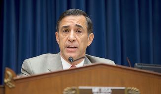 ** FILE ** House Oversight Committee Chairman Rep. Darrell Issa, California Republican, delivers his opening statement Oct. 10, 2012, on Capitol Hill during the committee's hearing on the Sept. 11 attack on the U.S. Consulate in Benghazi, Libya, that resulted in the death of U.S. Ambassador Christopher Stevens. (Associated Press)