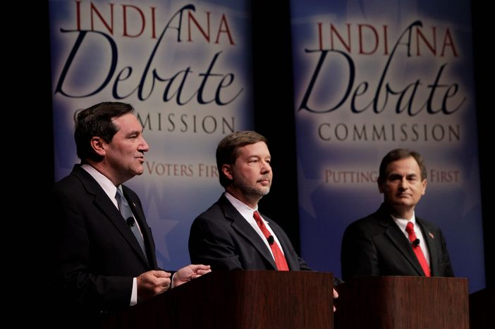 Candidates for Indiana's U.S. Senate seat Democrat Joe Donnelly (left), Libertarian Andrew Horning (center) and Republican Richard Mourdock participate in a debate in New Albany, Ind., on Oct. 23, 2012. (Associated Press)