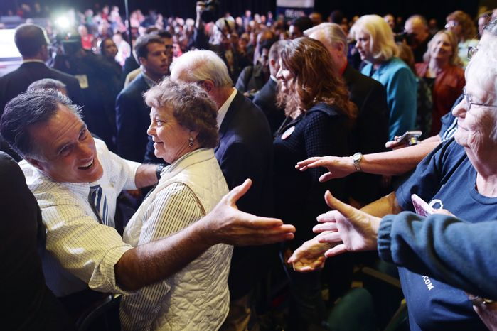 Republican presidential candidate Mitt Romney greets supporters Oct. 24, 2012, at an election campaign rally at the Reno Event Center in Reno, Nev. (Associated Press)