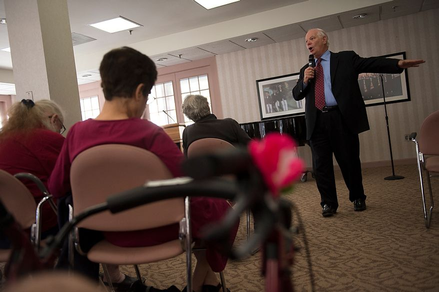 In the weeks leading up to Election Day, Sen. Benjamin L. Cardin, Maryland Democrat, offers remarks and fields questions from senior citizens at Ring House in Rockville, Md., on Monday, Oct. 22, 2012. (Rod Lamkey Jr./The Washington Times)