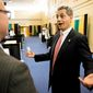 Tony Teano (left) of the Anne Arundel Community College internship office talks with independent U.S. Senate candidate Rob Sobhani at a jobs fair at the college, in Arnold, Md., on Wednesday, Oct. 17, 2012. (Andrew Harnik/The Washington Times)