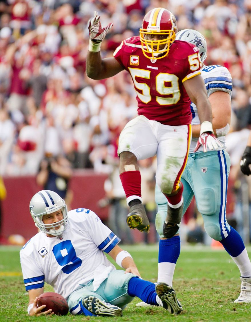 Washington Redskins inside linebacker London Fletcher (59) celebrates after sacking Dallas Cowboys quarterback Tony Romo (9) in the third quarter at FedEx Field in Landover, Md., on Sunday, November 20, 2011. (Andrew Harnik/The Washington Times)