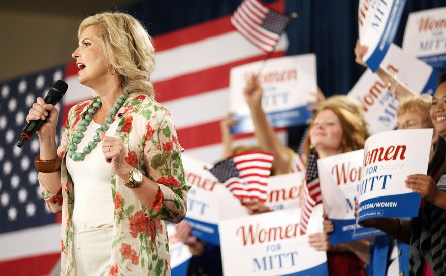 Ann Romney speaks during a campaign appearance for her husband, Mitt, on Thursday at the Renaissance World Golf Village Resort and Convention Center in St. Augustine, Fla. (The St. Augustine Record via Associated Press)