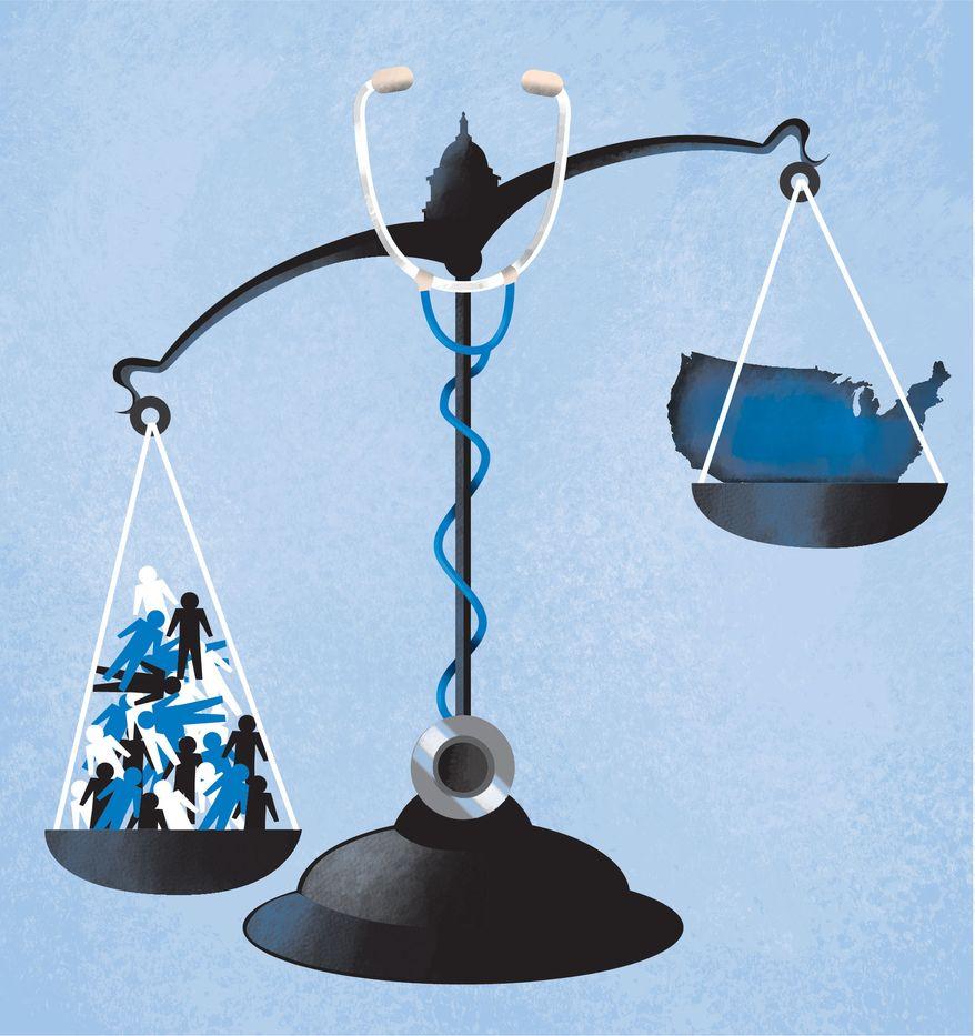 Illustration Obamacare Balance by Linas Garsys for The Washington Times