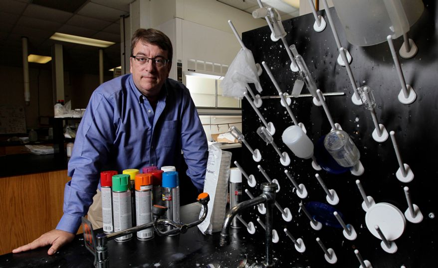 "This Tuesday, Sept. 11, 2012, photo shows Miles Wright, CEO of Xanofi, in his laboratory in Raleigh, N.C. Launched in September 2010, the company is preparing to market a liquid-based nanofiber production process. Mr. Wright, a registered independent, chuckles at a new GOP ad calling this period ""the worst economic recovery America has ever had."" ""The fact is, it's still a recovery,"" he says. ""Innovation hasn't stopped. People's efforts to commercialize technology, to open up a service business, while it gets harder because of lack of capital, I don't think people have stopped hoping and dreaming. And a lot of people have had success."" Mr. Wright says a lot of the job growth is happening in small companies like his ""that maybe go a little under the radar."" But the point is, it's happening. (AP Photo/Gerry Broome)"