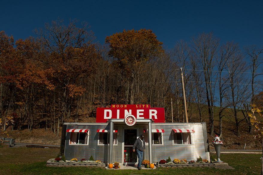 "Dennis Bowser of Alum Bank, Pa., built a small diner replica on his property after retiring, Alum Bank, Pa., Monday, October 22, 2012. ""There's a lot of coal in this area, Says Bowser, ""When you shut coal down, you get rid of a lot of jobs. It's their livelihood."" (Andrew Harnik/The Washington Times)"
