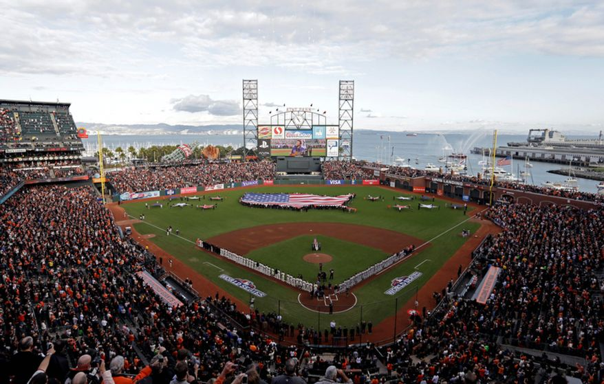 Phillip Phillips sings the national anthem before the start of Game 1 of the World Series between the San Francisco Giants and Detroit Tigers in San Francisco on Oct. 24, 2012. (Associated Press)