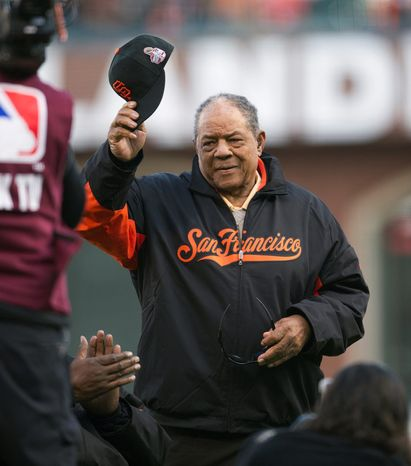 Hall of Famer Willie Mays tips his cap during introductions for Game 1 of the World Series between the San Francisco Giants and Detroit Tigers in San Francisco on Oct. 24, 2012. (Associated Press/The Sacramento Bee)