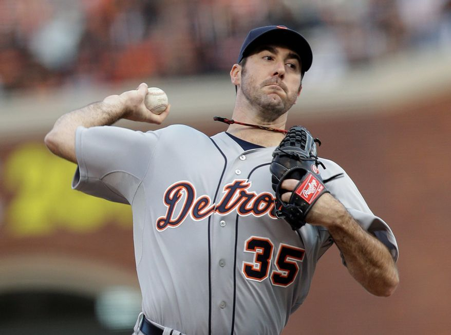 Detroit Tigers pitcher Justin Verlander throws during the first inning of Game 1 of the World Series between the Tigers and San Francisco Giants in San Francisco on Oct. 24, 2012. (Associated Press)