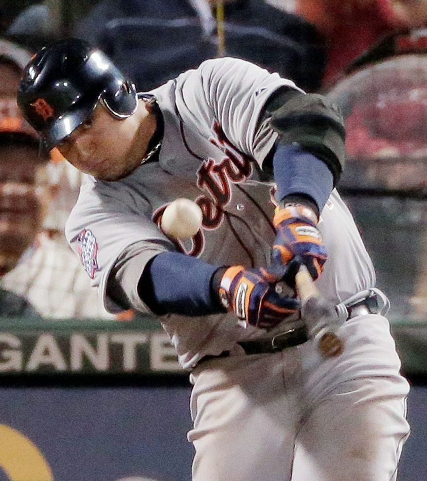 Detroit Tigers 3B Miguel Cabrera hits an RBI single during the sixth inning of Game 1 of the World Series between the Tigers and San Francisco Giants in San Francisco on Oct. 24, 2012. (Associated Press)