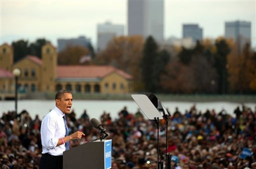 ** FILE ** President Barack Obama speaks during a campaign rally at the Meadow in City Park on Wednesday, Oct. 24, 2012, in Denver. (AP Photo/The Denver Post, Hyoung Chang)