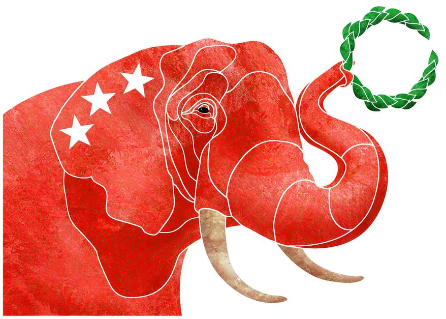 Illustration GOP Wreath by Greg Groesch for The Washington Times