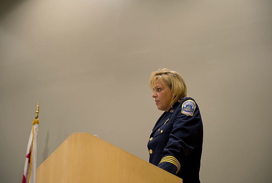 Metropolitan Police Department Chief Cathy Lanier addresses recruit class 2012-3 at their graduation ceremony on Oct. 26, 2012 in Washington, telling the new officers that they must remember that although they have great responsibility and authority, they are also still human. (Barbara L. Salisbury/The Washington Times)