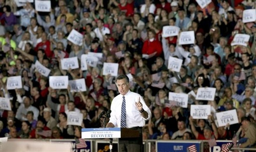 Republican presidential candidate and former Massachusetts Gov. Mitt Romney campaigns at the football stadium at Defiance High School in Defiance, Ohio, Thursday, Oct. 25, 2012. (AP Photo/Madalyn Ruggiero)