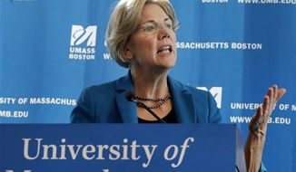 ** FILE ** Then Democratic U.S. Senate candidate Elizabeth Warren speaks during a campaign event at University of Massachusetts-Boston, Friday, Oct. 26, 2012. (AP Photo/Elise Amendola)