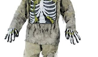 Catering to the popular zombie craze, Halloween costumes for young children are getting more grisly, like this boy's skeleton zombie costume, often sold in sizes for kindergartners. (Associated Press)